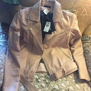 Pink blush genuine leather BLK DNM moto jacket